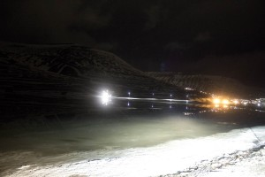 The area just past the dog kennels at the outskirts of Longyearbyen fills with meltwater Thursday afternoon. Flooding further out in Adventdalen is more severe, blocking the road as of early Thursday evening. Photo by Mark Sabbatini / Icepeople.