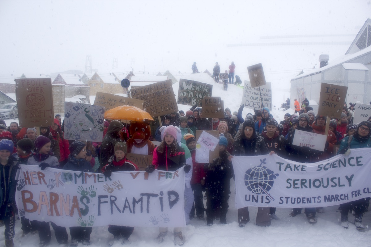Snow now, snow tomorrow, snow forever: More than 100 locals gather in heavy snowstorm hoping it's more than a memory in northernmost gathering of global 'climate strike'